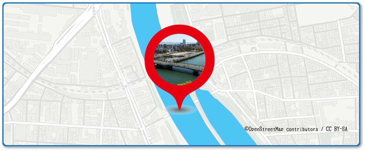 天神祭奉納花火の穴場スポット 源八橋周辺の地図