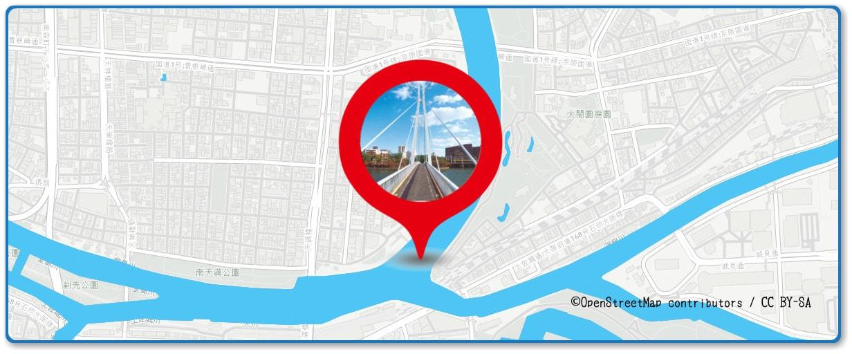 天神祭奉納花火の穴場スポット 川崎橋周辺の地図