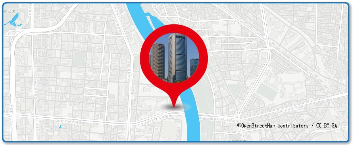 天神祭奉納花火の穴場スポット OAPタワー(大阪アメニティパーク)周辺の地図