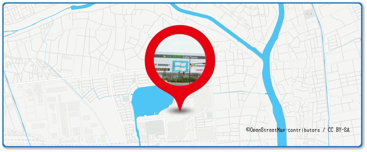 越谷花火大会の穴場スポット イオンレイクタウンの屋上周辺の地図