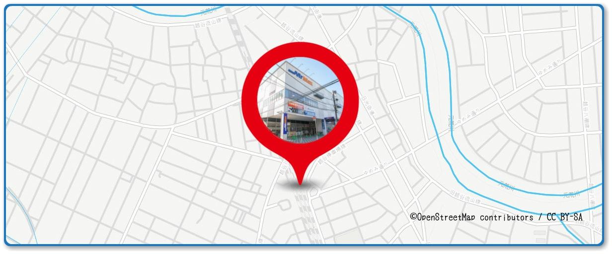 越谷花火大会の穴場スポット MrMax越谷店の屋上周辺の地図