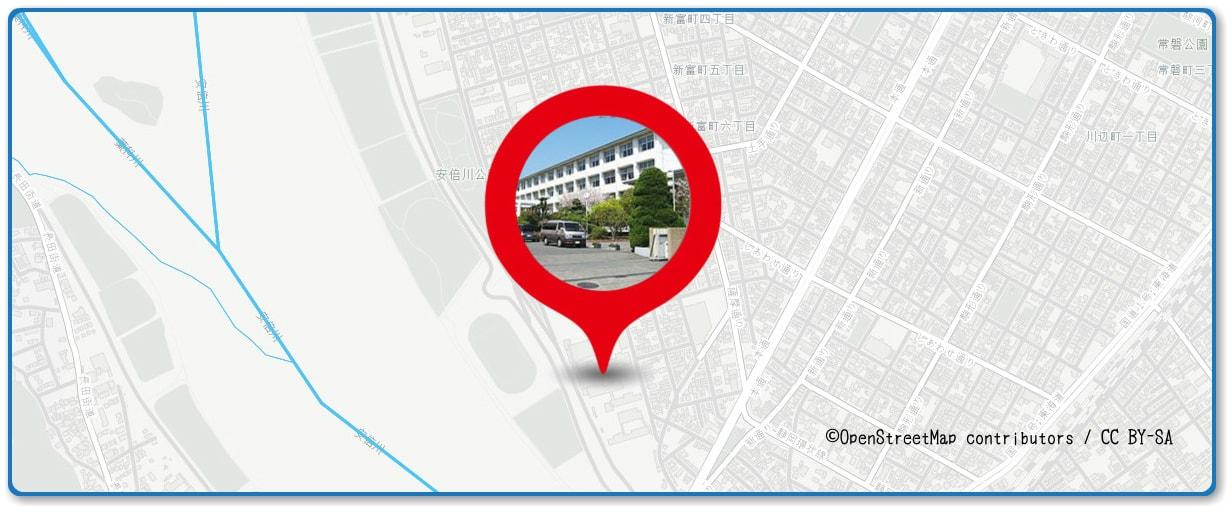 安倍川花火大会の穴場スポット 静岡商業高校前の土手周辺の地図