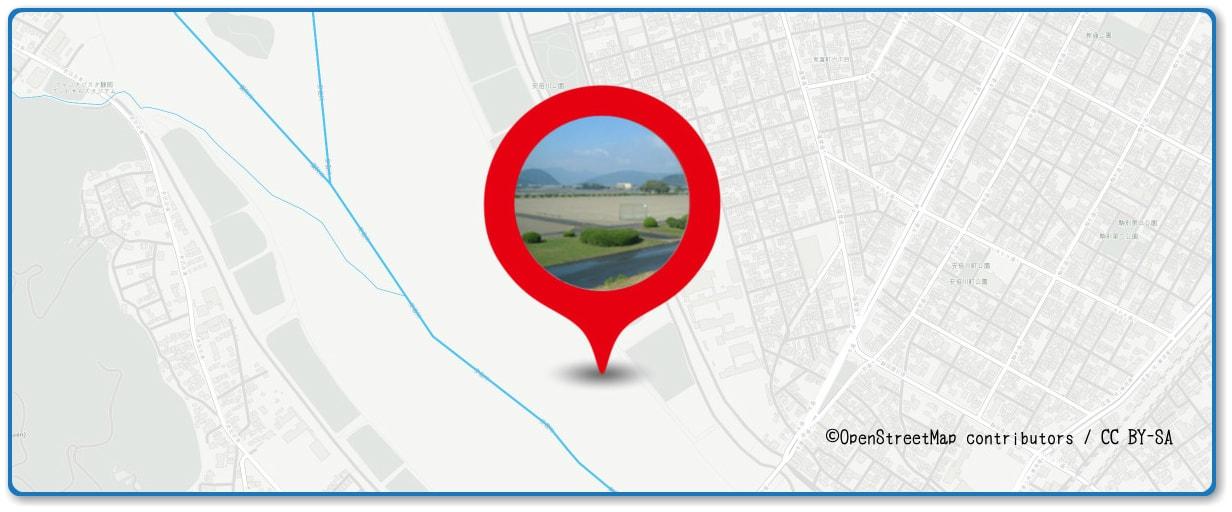 安倍川花火大会の穴場スポット 田町スポーツ広場周辺の地図
