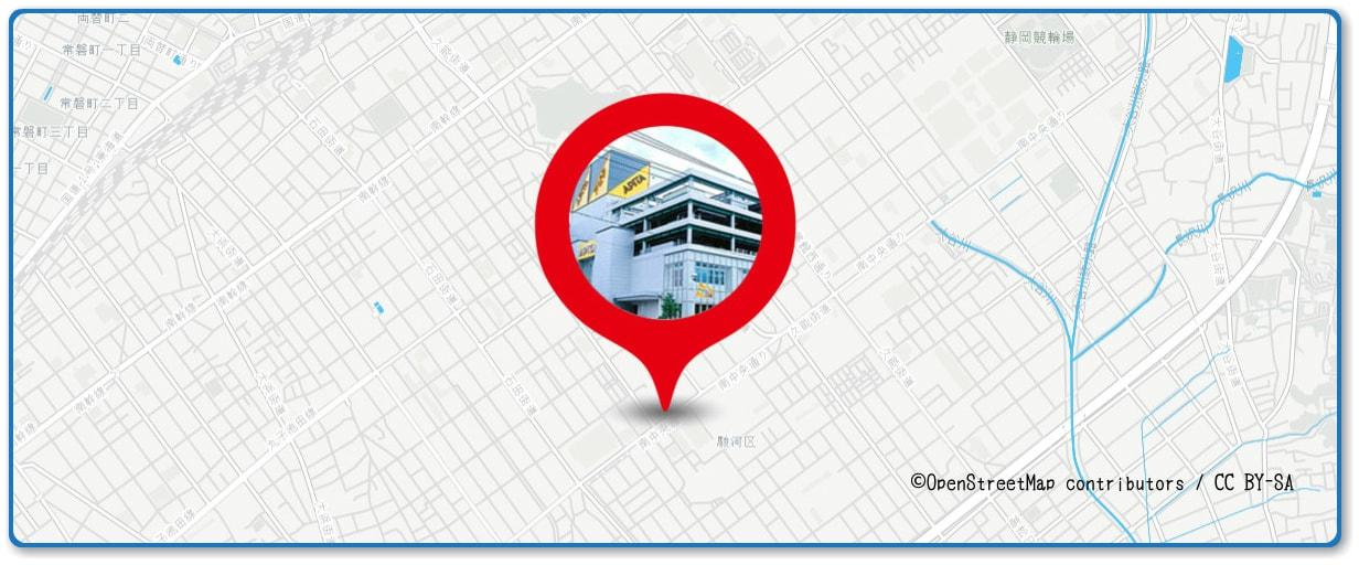安倍川花火大会の穴場スポット アピタ静岡店周辺の地図