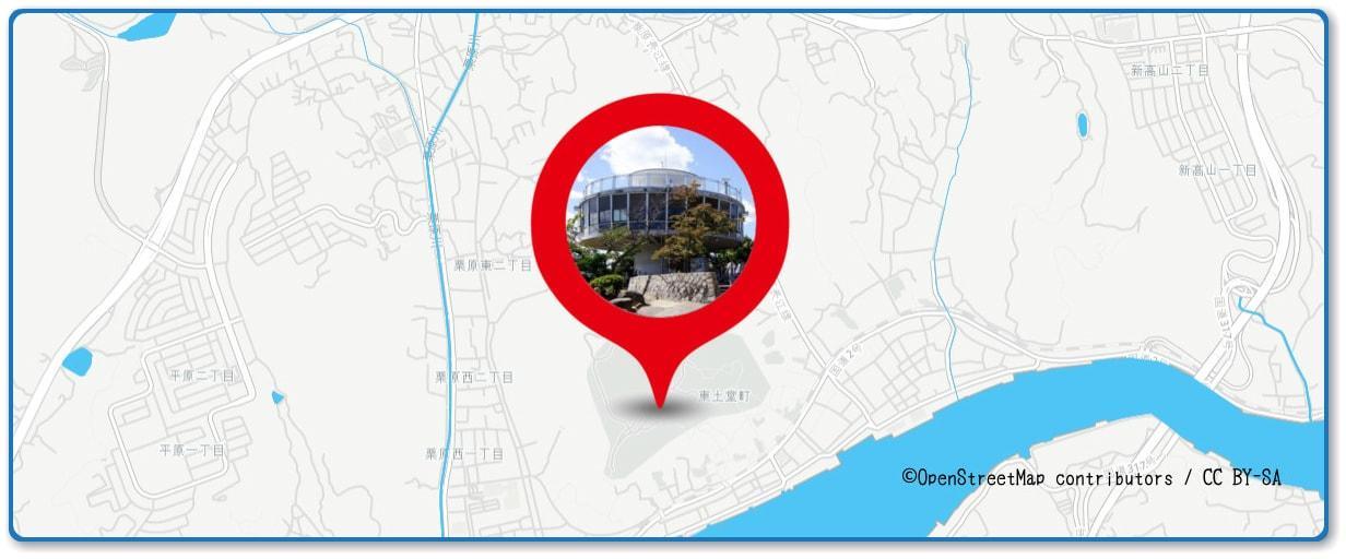 おのみち住吉花火まつりの穴場スポット 千光寺公園展望台周辺の地図
