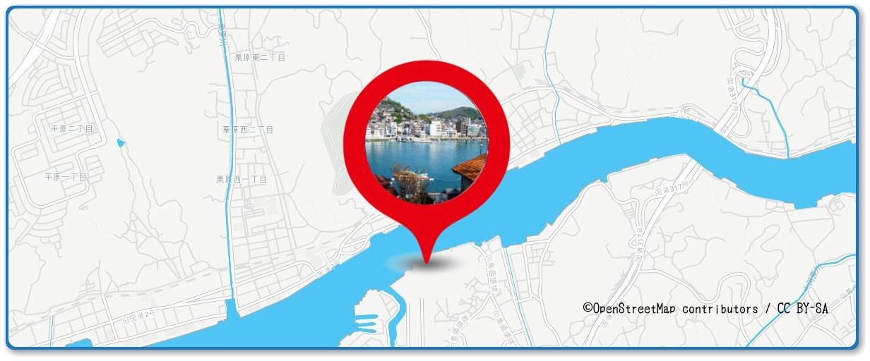 おのみち住吉花火まつりの穴場スポット 向島側沿岸部周辺の地図