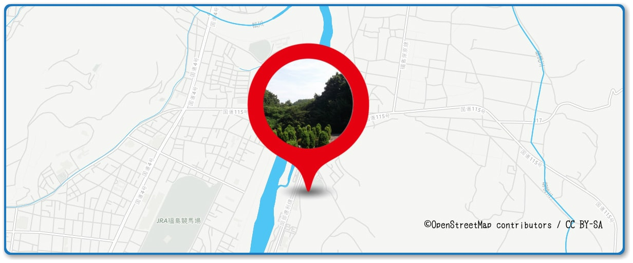 福島花火大会の穴場スポット 新山霊園周辺の地図