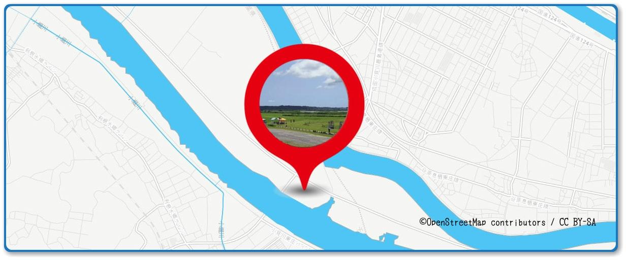 水郷おみがわ花火大会の穴場スポット 小見川河川敷緑地周辺の地図