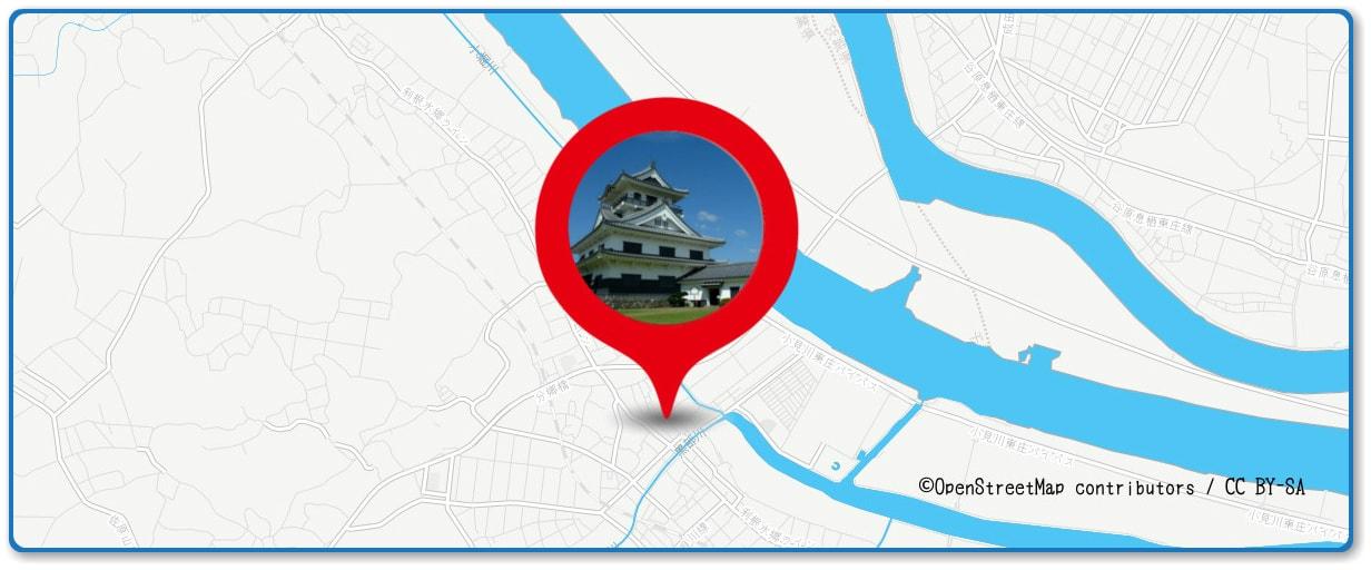 水郷おみがわ花火大会の穴場スポット 小見川城山公園周辺の地図