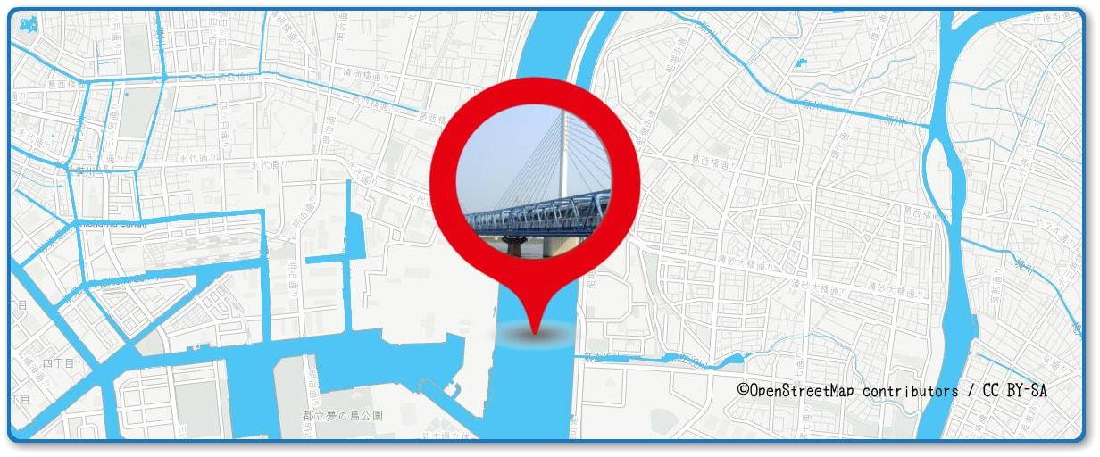 江東花火大会の穴場スポット 清砂大橋周辺の地図