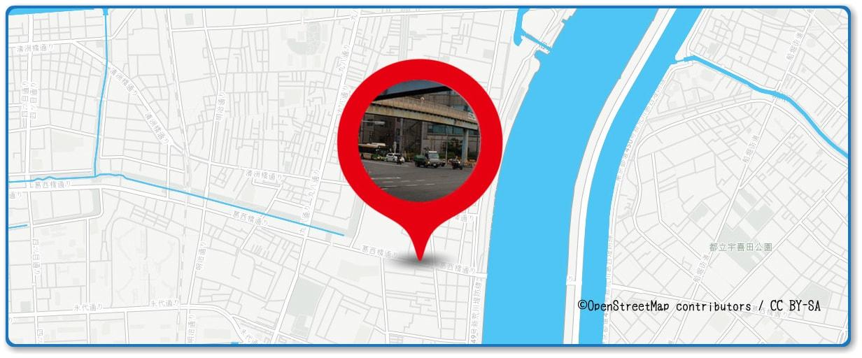 江東花火大会の穴場スポット 葛西橋通り周辺の地図
