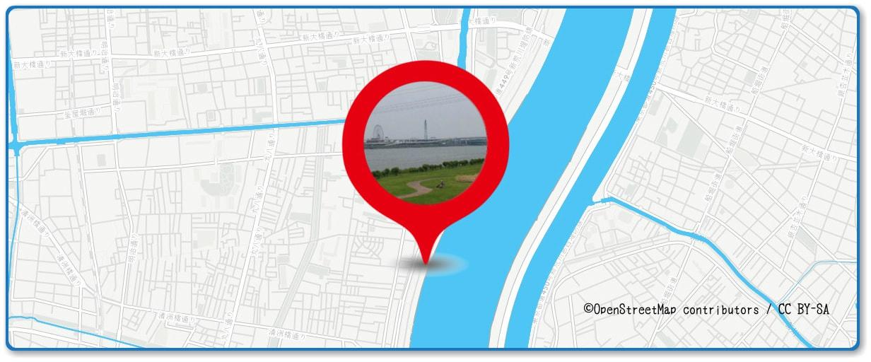 江東花火大会の穴場スポット 荒川砂町水辺公園周辺の地図