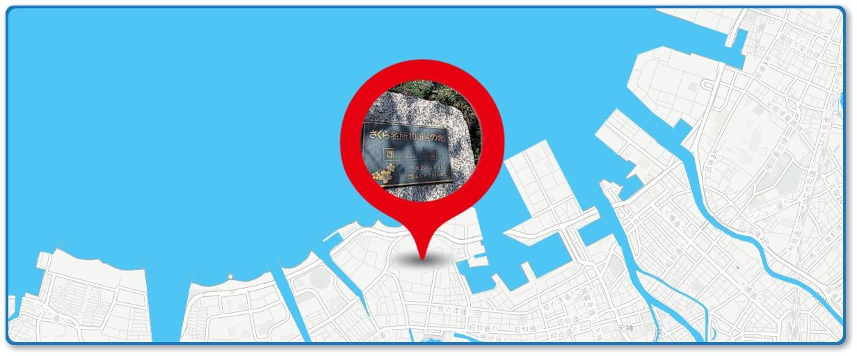西日本大濠花火大会の穴場スポット 西公園周辺の地図