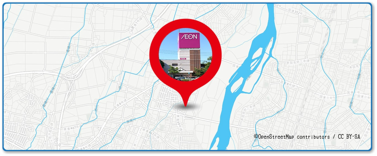 長岡まつり大花火大会の穴場スポット イオン長岡店の屋上駐車場周辺の地図