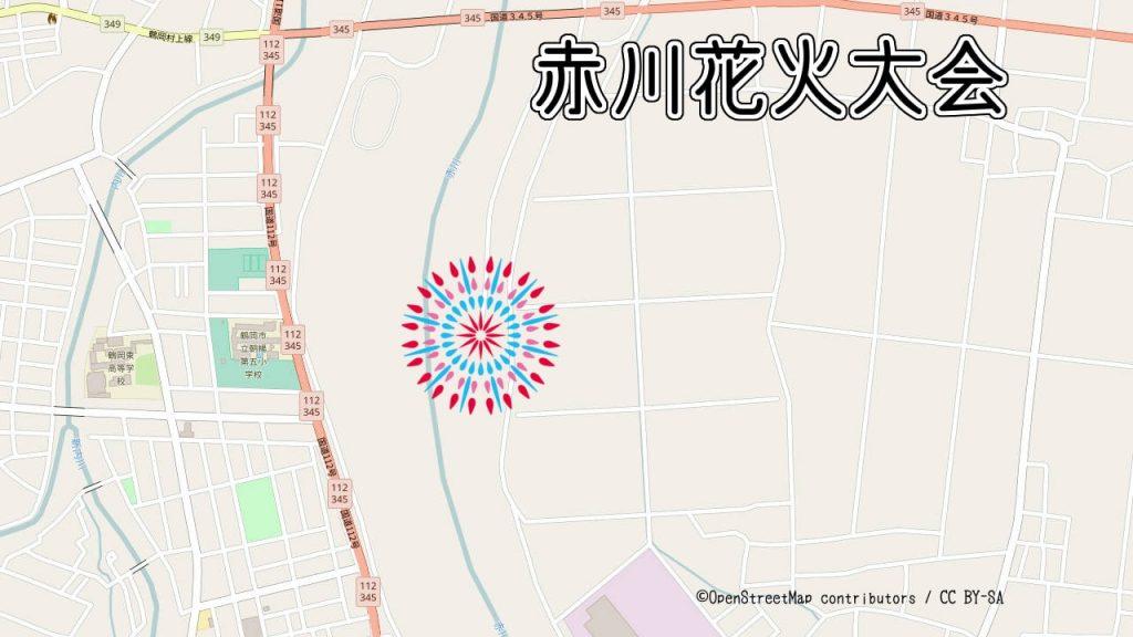 赤川花火大会の打ち上げ場所の地図