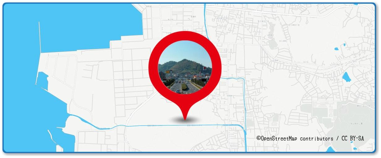 松山港まつり 三津浜花火大会の穴場スポット 弁天山周辺の地図