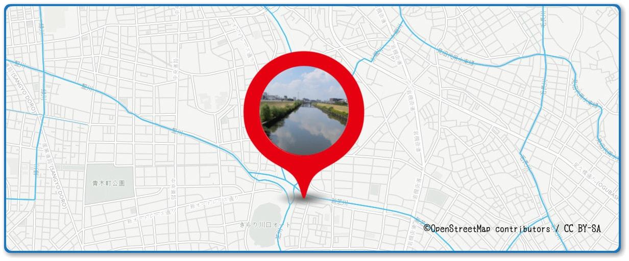 川口たたら祭り花火大会の穴場スポット 新芝川の土手周辺の地図