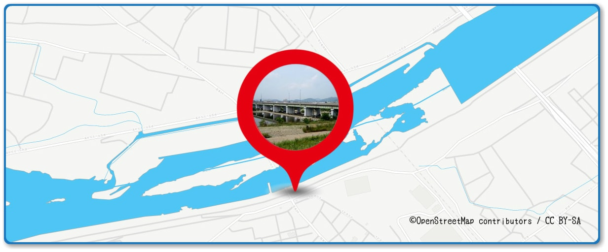 加古川まつり花火大会の穴場スポット 加古川橋周辺の地図
