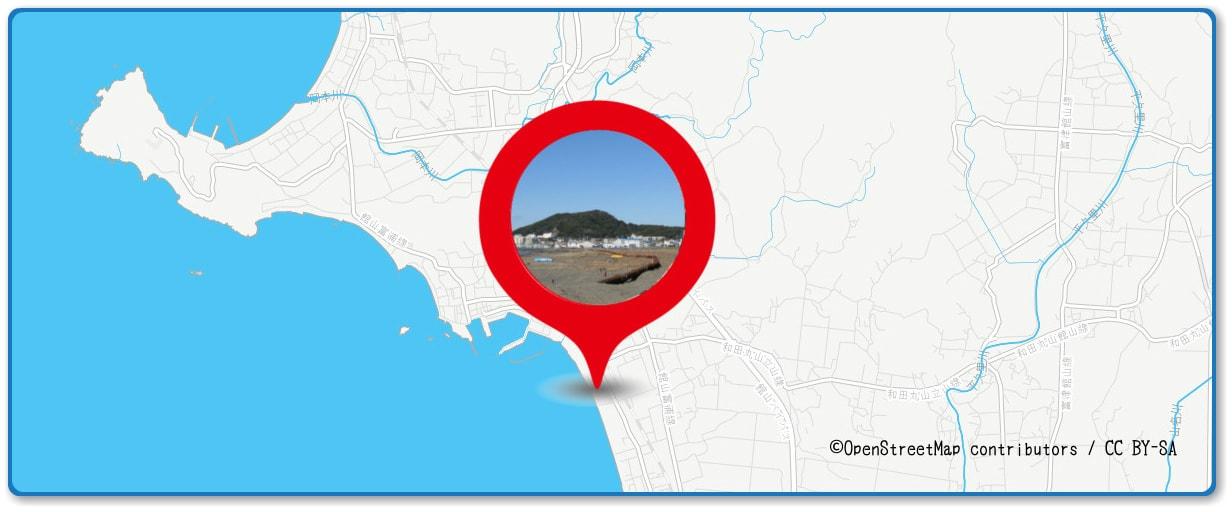 館山観光まつり館山湾花火大会の穴場スポット 那古海岸周辺の地図