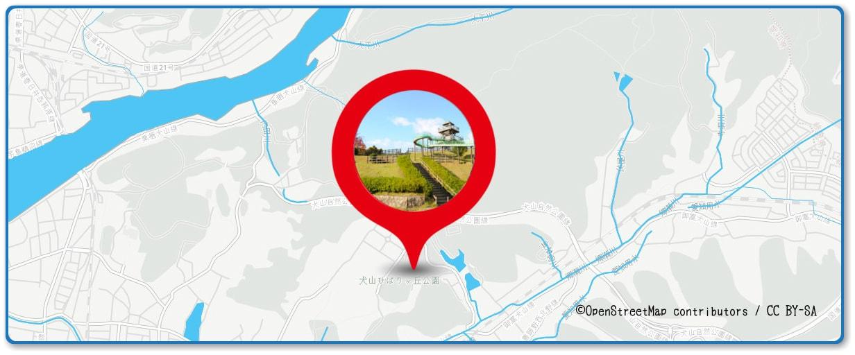 犬山日本ライン夏まつり納涼花火大会の穴場スポット 犬山ひばりヶ丘公園周辺の地図