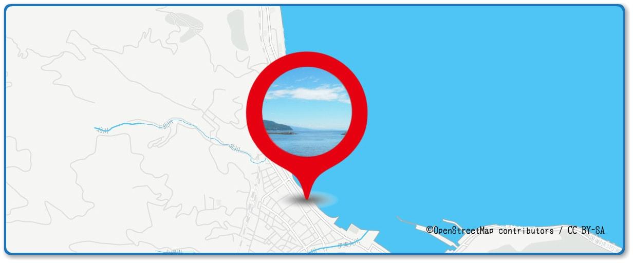 按針祭海の花火大会の穴場スポット 伊東オレンジビーチ周辺の地図