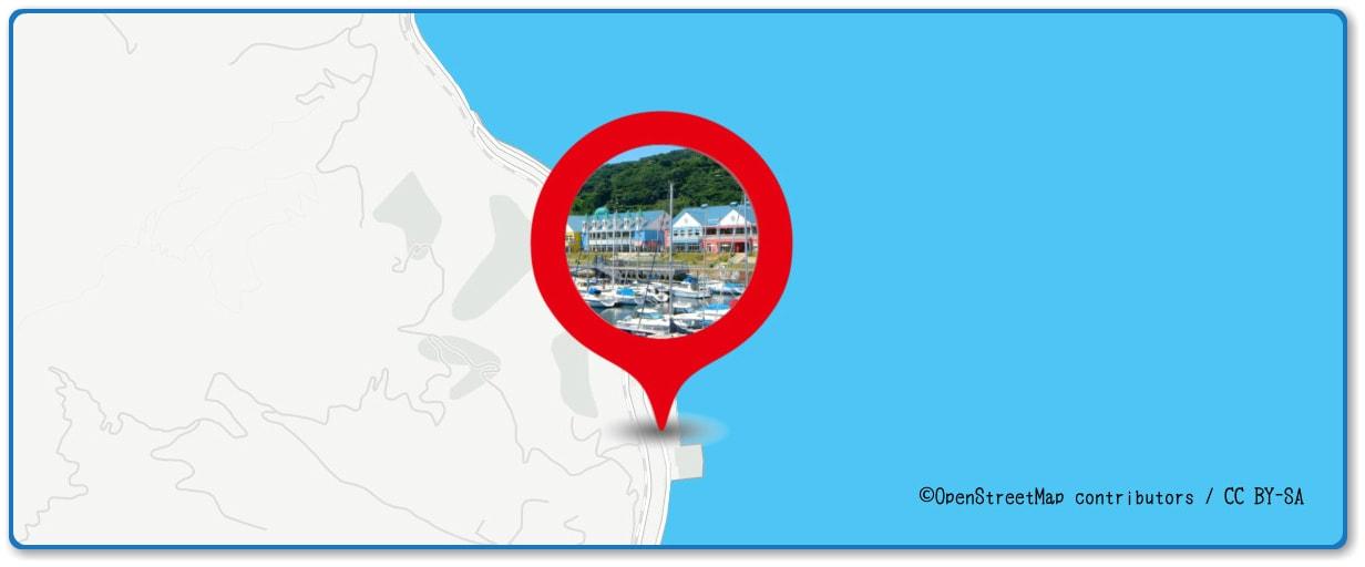 按針祭海の花火大会の穴場スポット 伊東マリンタウン周辺の地図