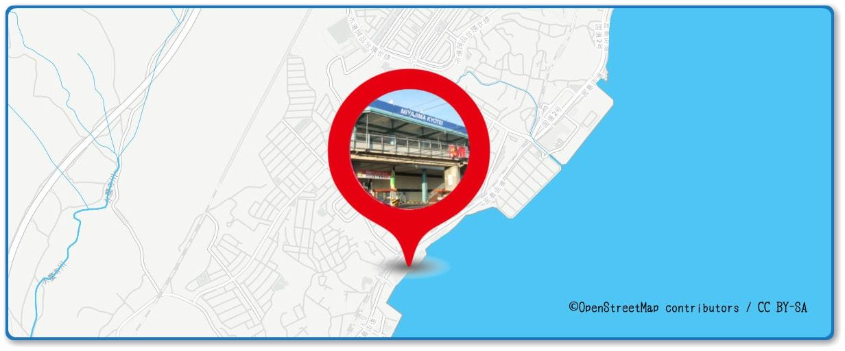 宮島水中花火大会の穴場スポット 宮島競艇場周辺の地図