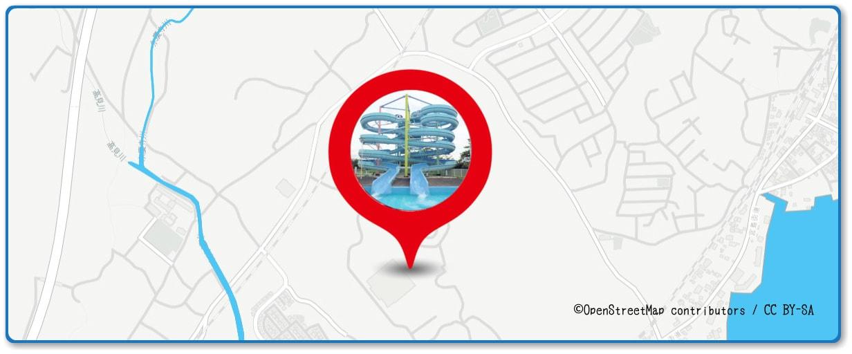 宮島水中花火大会の穴場スポット ちゅーピーパーク周辺の地図