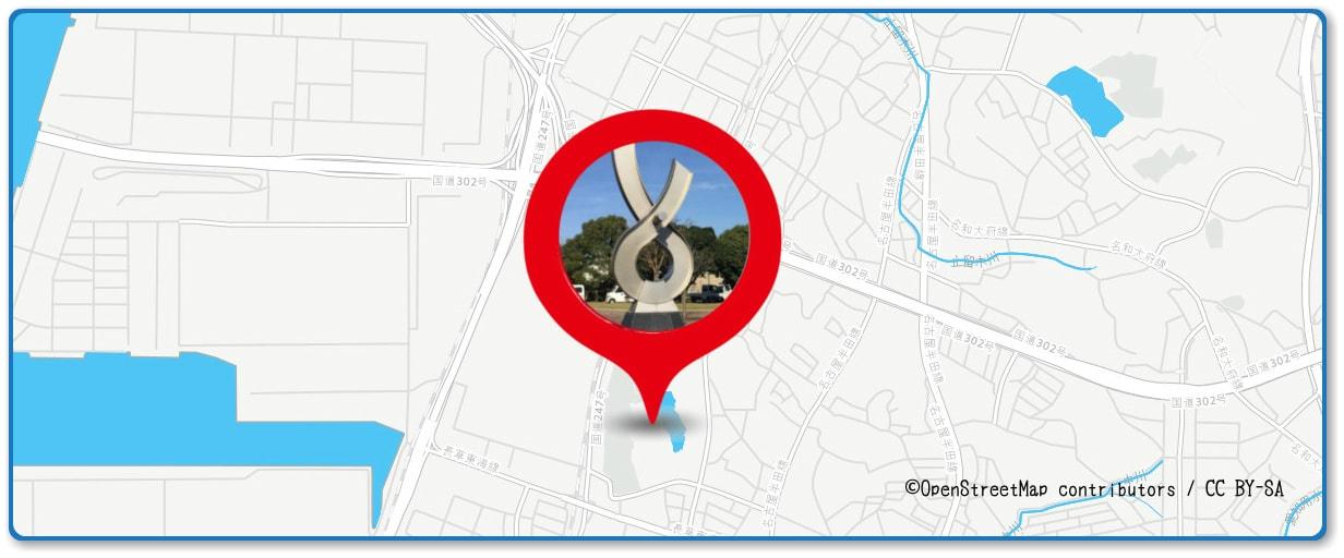 東海まつり花火大会の穴場スポット しあわせ村の山周辺の地図