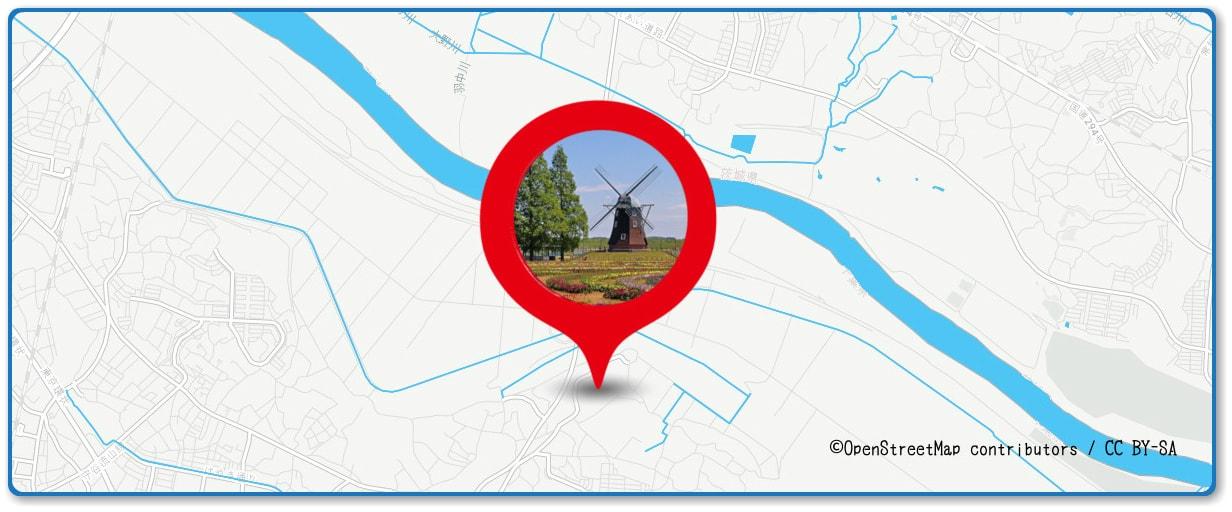 取手花火大会の穴場スポット あけぼの山農業公園周辺の地図
