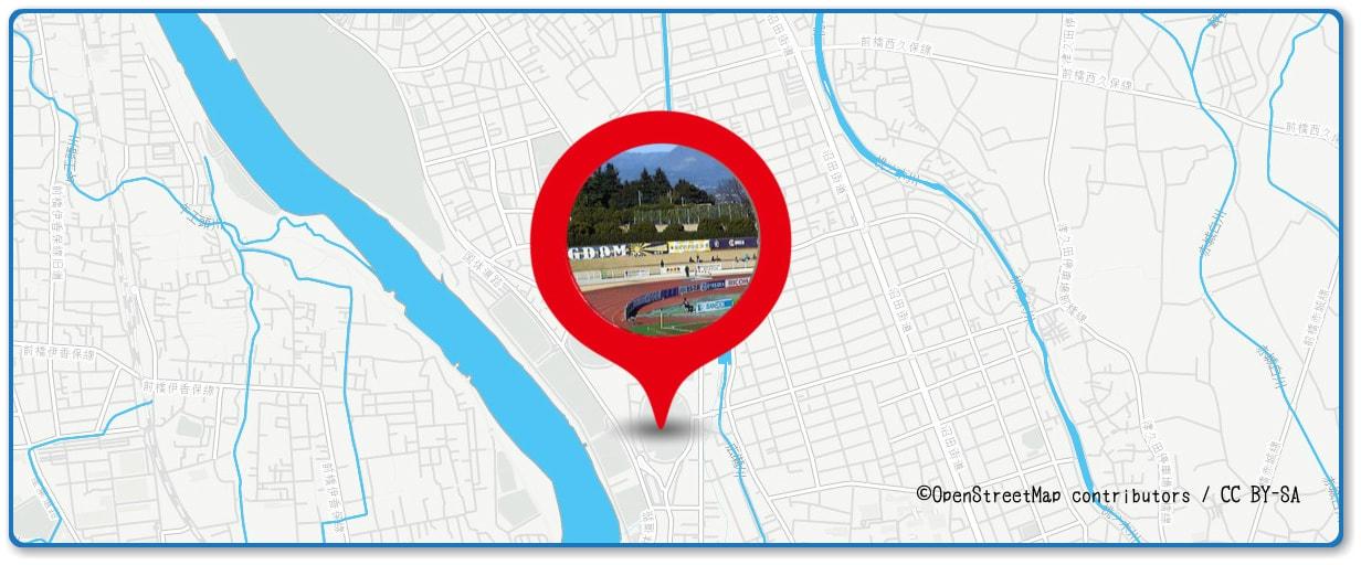 前橋花火大会の穴場スポット 正田醤油スタジアム周辺の地図