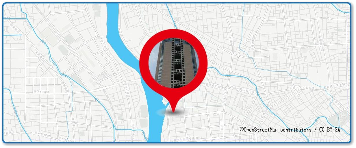 前橋花火大会の穴場スポット 群馬県庁展望台周辺の地図