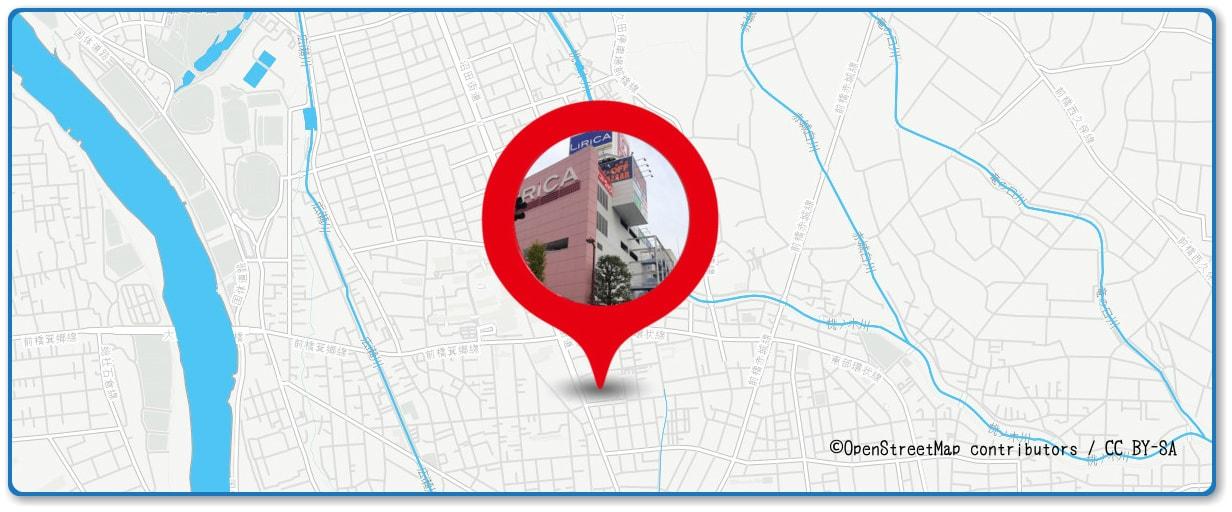 前橋花火大会の穴場スポット 前橋リリカ屋上駐車場周辺の地図