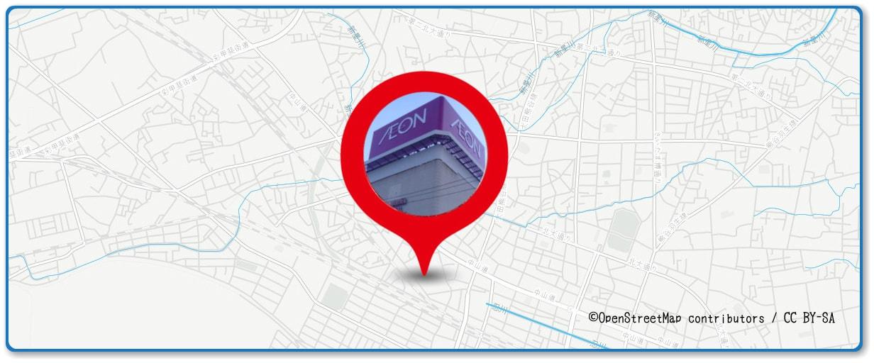 熊谷花火大会の穴場スポット イオン熊谷店の屋上周辺の地図