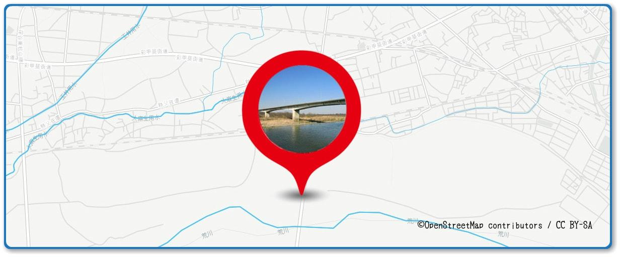 熊谷花火大会の穴場スポット 熊谷大橋周辺の地図