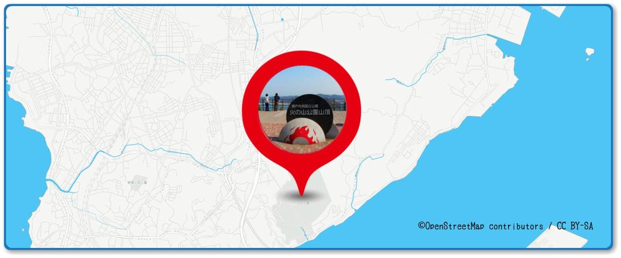 関門海峡花火大会の穴場スポット 火の山公園周辺の地図