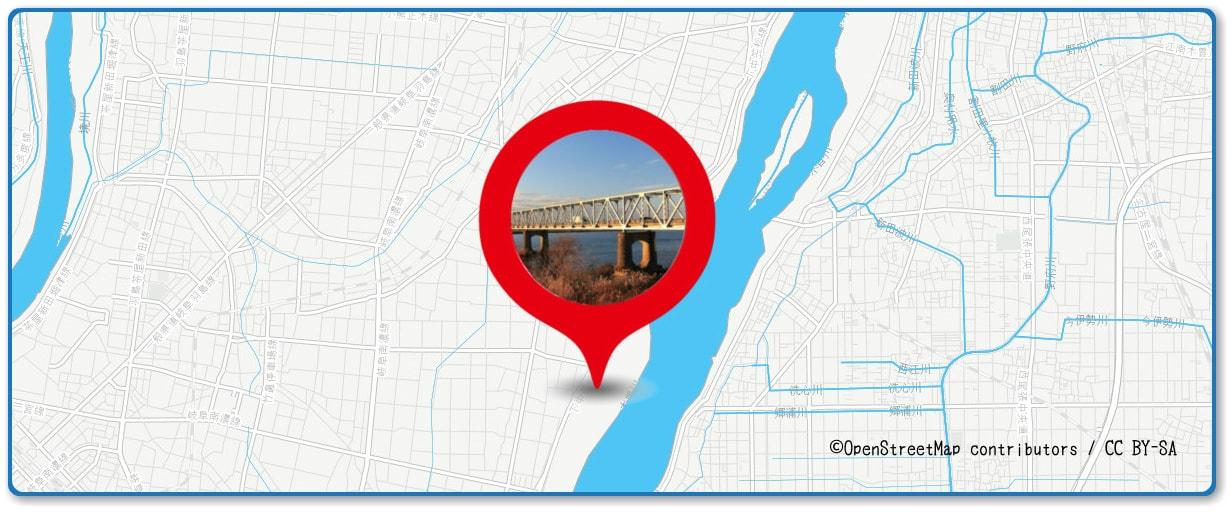 濃尾大花火大会の穴場スポット 濃尾大橋北側河川敷周辺の地図