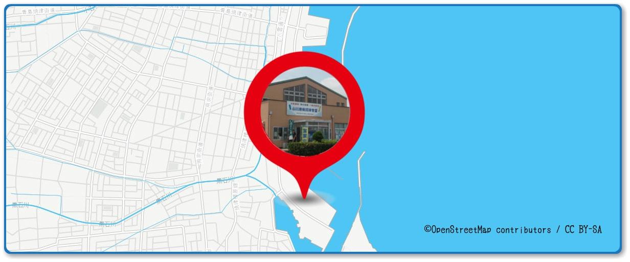 焼津海上花火大会の穴場スポット 小川港の防波堤周辺の地図
