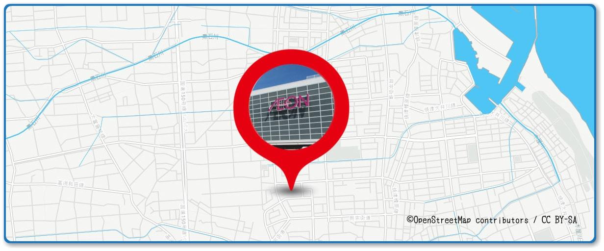 焼津海上花火大会の穴場スポット イオン焼津店周辺の地図