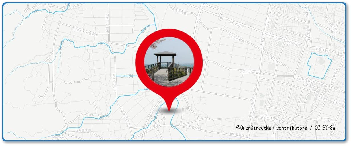山形大花火大会の穴場スポット 西公園周辺の地図
