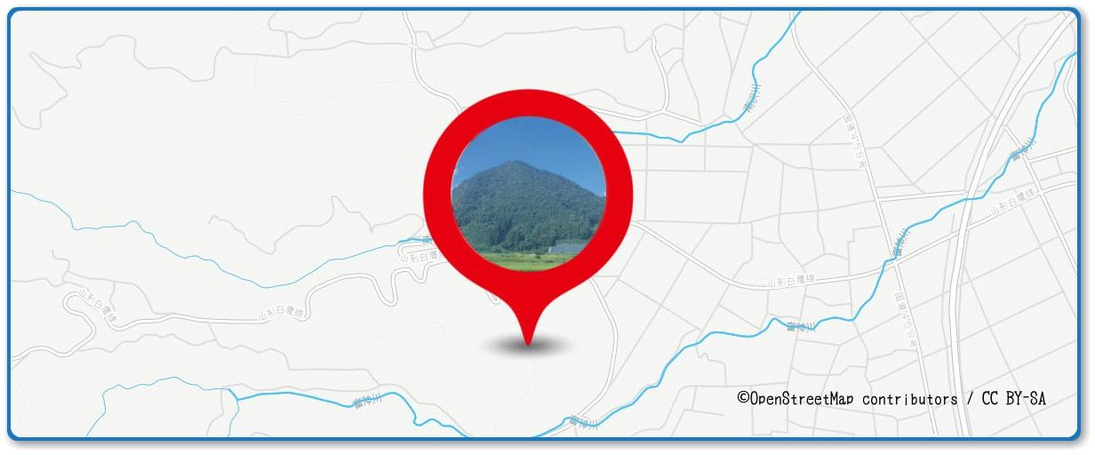 山形大花火大会の穴場スポット 富神山周辺の地図
