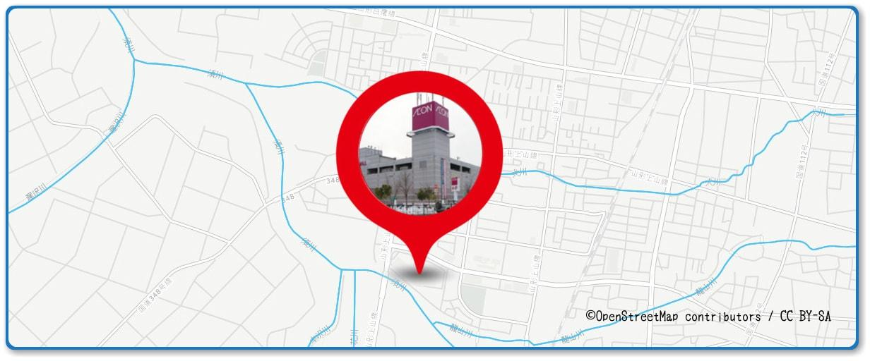 山形大花火大会の穴場スポット イオンモール山形南店周辺の地図