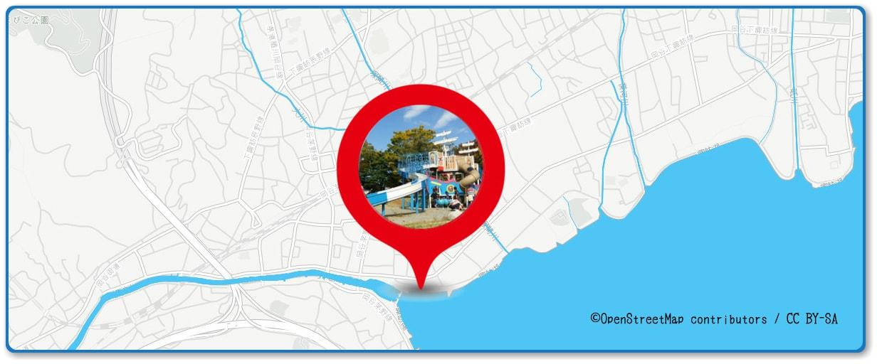 諏訪湖祭湖上花火大会の穴場スポット 岡谷湖畔公園周辺の地図