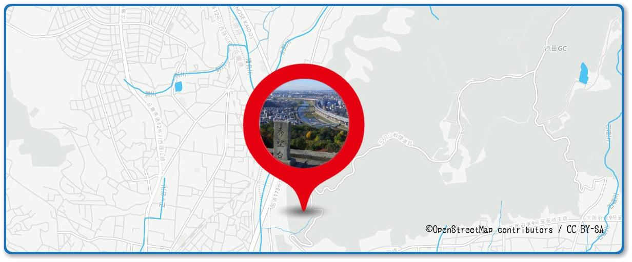 猪名川花火大会の穴場スポット 五月山秀望台周辺の地図