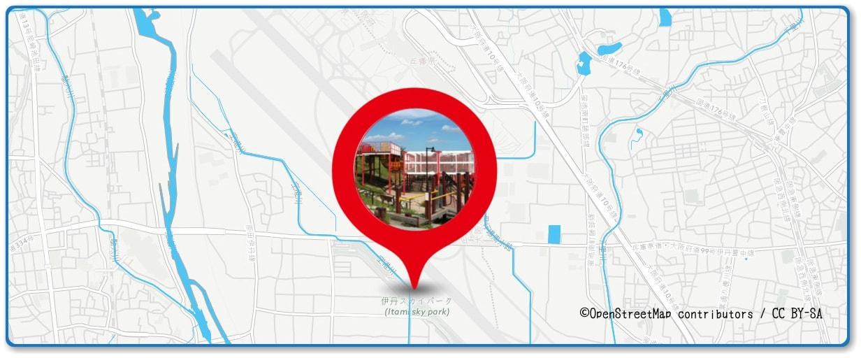 猪名川花火大会の穴場スポット 伊丹スカイパーク周辺の地図