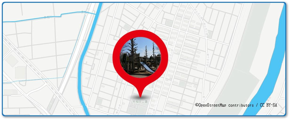 流山花火大会の穴場スポット 早稲田公園周辺の地図