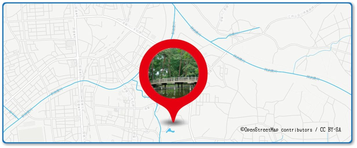 釈迦堂川花火大会の穴場スポット 翠ヶ丘公園周辺の地図