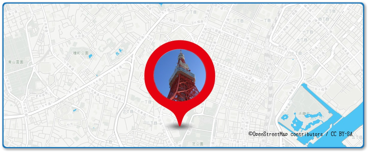 神宮外苑花火大会の穴場スポット 東京タワー展望台周辺の地図