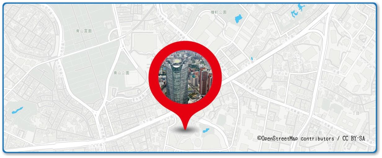 神宮外苑花火大会の穴場スポット 六本木ヒルズ展望台周辺の地図