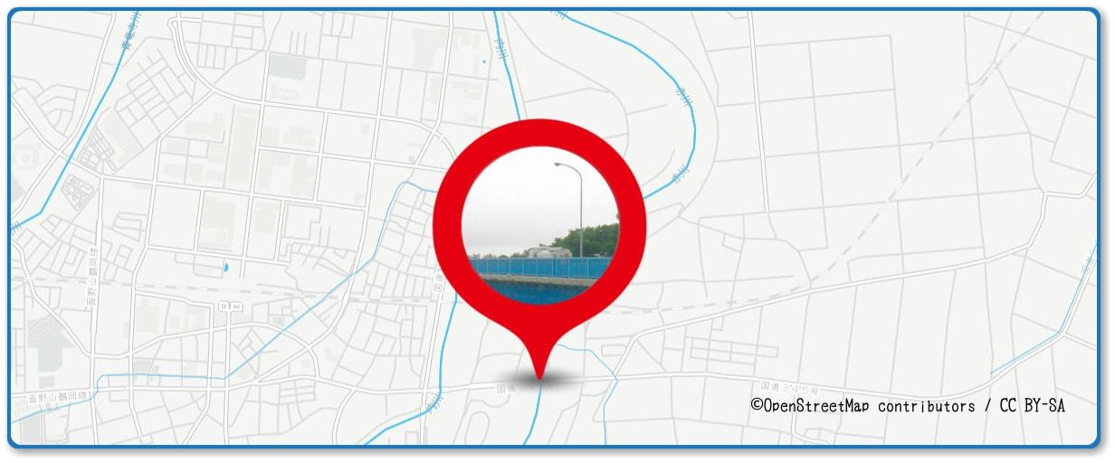 赤川花火大会の穴場スポット 三川橋周辺の地図